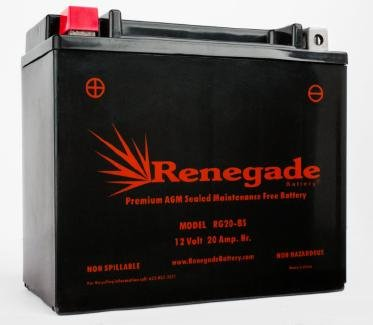 Motorcycle Battery; RG20-BS; Harley 1985 XR 1000; Part# 66672-96, 65991-75C, 65991-82A, 65991-82B, BTX20-BS, BTX20H-BS, YTX20-BS
