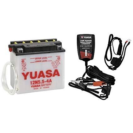 Yuasa YUAM2254A 12N5.5-4A Battery and Automatic Charger Bundle