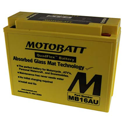 MotoBatt MB16AU (12V 20.5 Amp) 230CCA Factory Activated QuadFlex AGM Battery