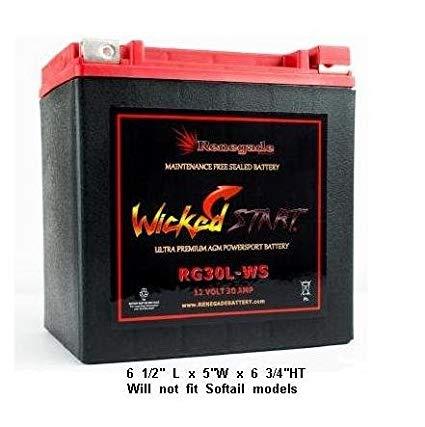 RG30L-WS Wicked Start 600+ CCA Battery; Harley 2000 Road King & Road King Classic & Road King EFI; Part# BTX30L, B30L-B, CB30L-B, YIX30L, 66010-97A/B/C