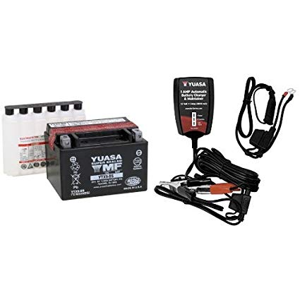 Yuasa YUAM329BS YTX9-BS Battery and Automatic Charger Bundle