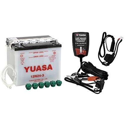 Yuasa YUAM2224D 12N24-3 Battery and Automatic Charger Bundle