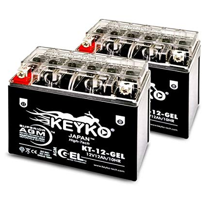 Kawasaki 750CC ZX750-P Ninja ZX-7R, 1996-2003 Battery 12V 12Ah SLA Maintenance Free AGM-GEL Motorcycle Extreme High Performance Battery Replacement Genuine KEYKO - 2 Pack