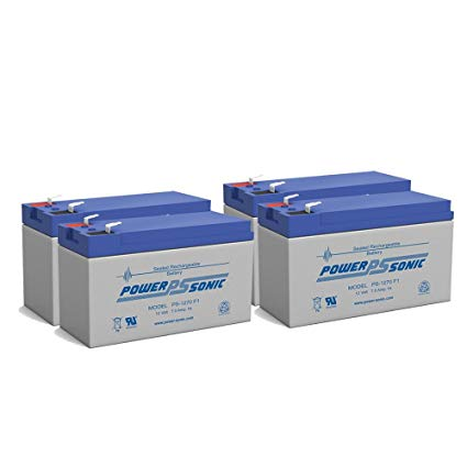 Powersonic 12 volt 7 Amp Hour Sealed Lead Acid Battery for UPS and Alarm Systems - 4 Pack