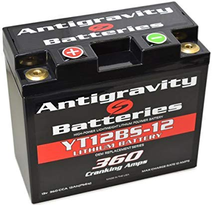 Antigravity Batteries - Lightweight Motorcycle Lithium Ion Battery - OEM Ducati Case Size 12 Cell YT12BS-12 - MADE IN THE USA - 2 Pounds 4 Ounces - 360 CCA