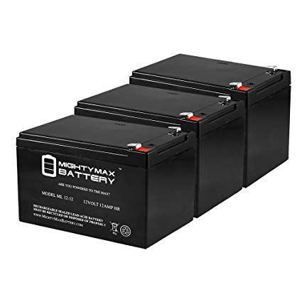12V 12AH Compatible Battery for 6-DZM-12 APC Scooter Medical - 3 Pack - Mighty Max Battery brand product
