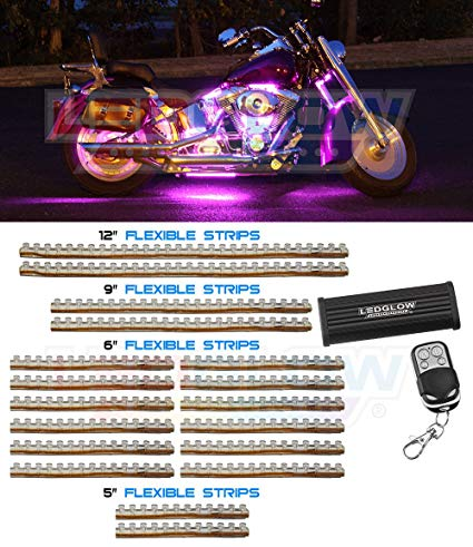 LEDGlow 18pc Pink Flexible Motorcycle Lighting Kit - 312 LEDs - Strobe and Flash Modes - Wireless Remote