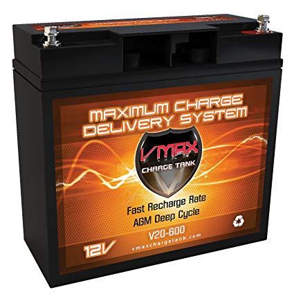 VMAX600 AGM Battery 20ah deep cycle Battery ideal for 18lb minn kota - 24lb minnkota and other trolling motors, jetski, snowmobiles. GROUP HALF U1 20Ah (Upgrades UB12180)