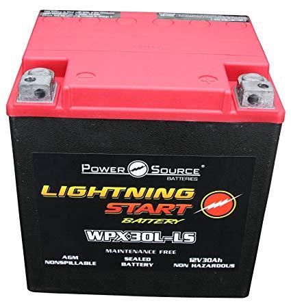 Power Source 01-366P Lightning Start Red/Black 30Ah Battery