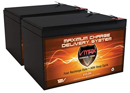 QTY 2 VMAXMB64 AGM Deep Cycle Battery Replacement for Go Go Travel Mobility Elite Traveller SC40E SC44E 12V 15Ah Battery