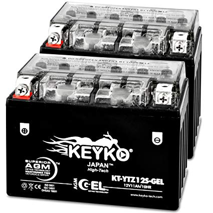 Honda 1000CC RVT1000R RC51 2005 YTZ12S Powersport Motorcycle Battery Sealed Maintenance Free YTZ12S-BS AGM GEL Extreme High Performance 12V - Genuine KEYKO - 2 Pack